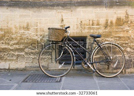 An old bicycle on the street, close to Cambridge University.