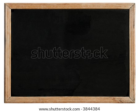 An old blackboard with a wooden frame, isolated on a white background. - stock photo