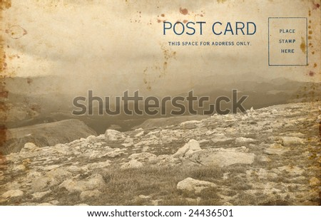 An old blank vintage postcard including my photo of a Colorado Rocky mountain scene.