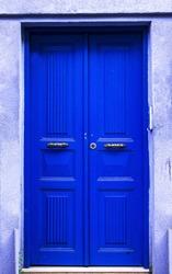 An Old Blue Door,Wood Door, Istanbul, March 2019 Spring Time in Turkey