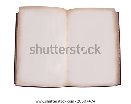 an old book opened showing blank pages