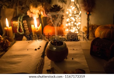 An old book with clean pages and burning candles, witchcraft, natural crystals and skull, pumpkin, wicca, halloween #1167173359