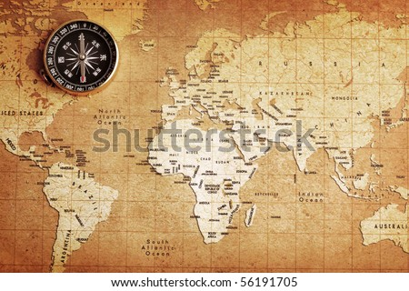 An old brass compass on a Treasure map background #56191705
