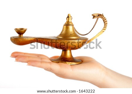 An old brass oil lamp on the hand
