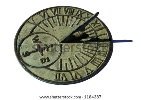 An old brass sundial, with a delicate green patina, showing 1:30pm. Isolated on white with a clipping path.