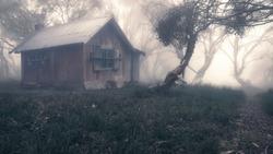 An old bushmans hut in foggy, alpine woodland, Australia