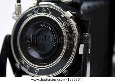 An old camera of negative medium format