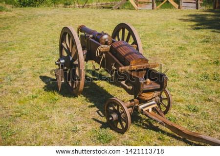 An old cannon that shoots cores. Antique weapons. Artillery guns. #1421113718