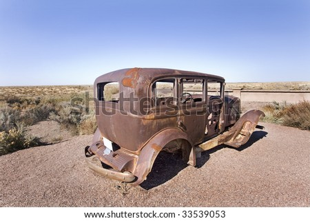 An old car left in the desert in Utah