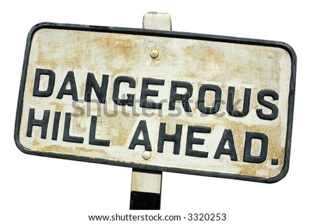 An old, cast-iron warning sign, isolated on white (with clipping path)