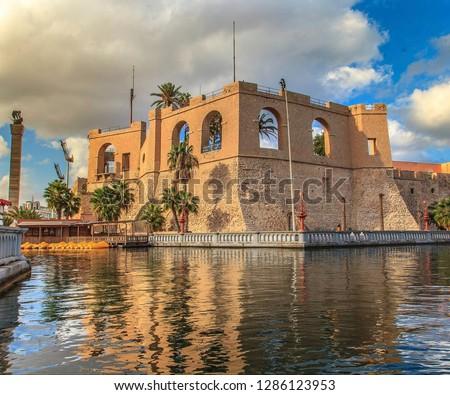 An Old Castle at the Mediterranean sea near downtown Tripoli Libya Stockfoto ©