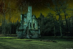 An old castle ruine in a fantasy landscape at night