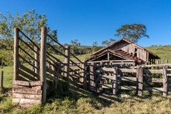 an old cattle wooden stable abandoned in Brazil