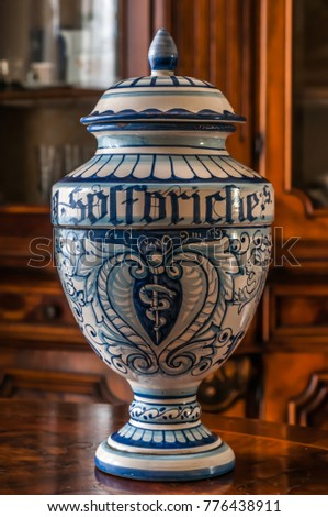 An old ceramic pharmacy jar hand painted. The word 'solforiche' means sulfuric in italian. #776438911