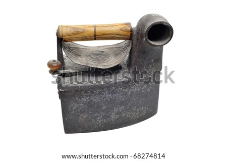 an old charcoal iron isolated on a white background