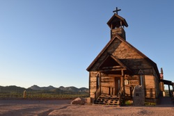 An old church in a historic cowboy Western Town in the middle of the desert which was established for mining activities in the old days near Phoenix Arizona in the United states of America