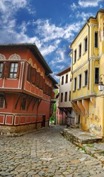 an old city, historical buildings, is in Plovdiv (Bulgaria)
