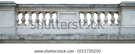An old classic isolated balustrade.  Ancient fence. Ancient Architecture Baroque