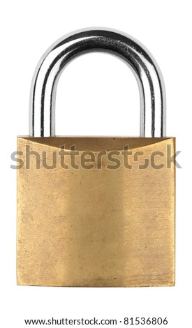 An old closed metal padlock against white background
