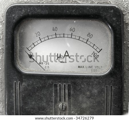 An old corroded ammeter for measuring electric circuits