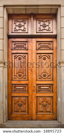 An old door in an old building - stock photo