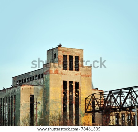 An old factory, now lying in ruins.