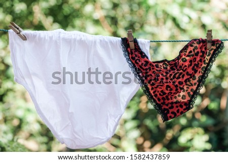 an old fashioned and sexy underwear hanged on rope at garden
