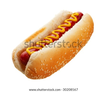 An old-fashioned hot dog with mustard, on a sesame seed bun.  Shot on white background.