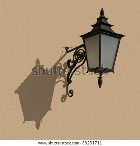 An old-fashioned lantern hanging on a wall