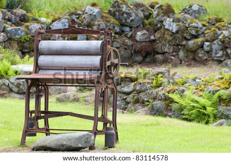 An old fashioned laundry mangle - stock photo