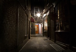 An old-fashioned London Alleyway in the city.