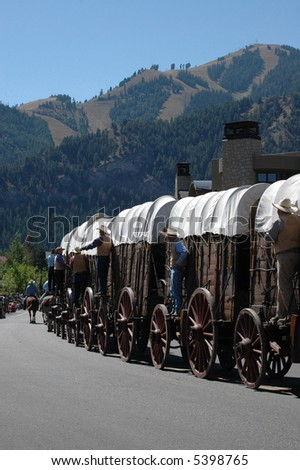 An old-fashioned stagecoach is driven through town during Pioneer Days in Sun Valley, Idaho.