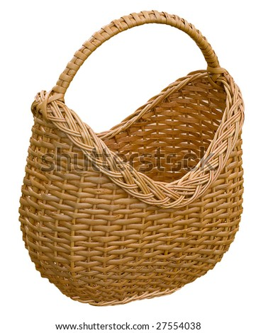 an old fashioned wooden picnic basket isolated on a white background