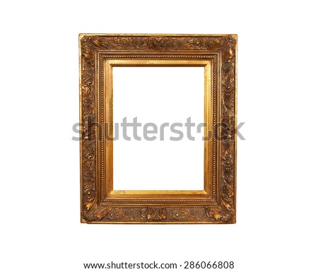 An old french wood frame with rich plaster engravings and gold painted.