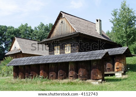 An old historic houses in museum  – Roznov  Skansen -  Wallachian Village open air museum- in Czech republic in Europe under mountains by name Beskydy