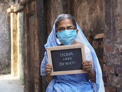 An old Indian woman with message