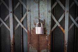 An old iron gate locked