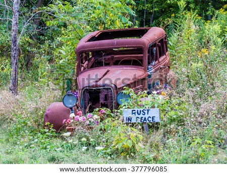 An old junk car found a lasting home as a memorial to itself