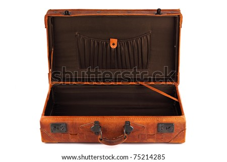 An old leather opened suitcase on white background