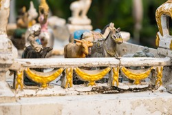 An old little horse statue on the shrine