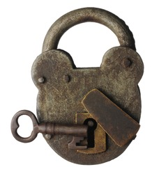 An old locked padlock with key