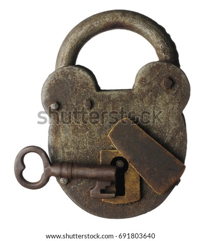 An old locked padlock with key #691803640