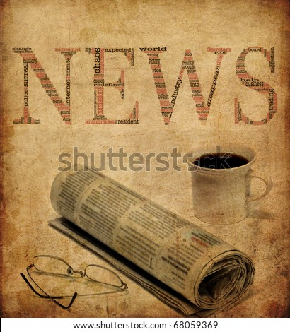 An old looking texture with the word news filled with words concerning journalism. Great for backgrounds etc.