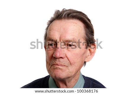 an old man looking at something on white background