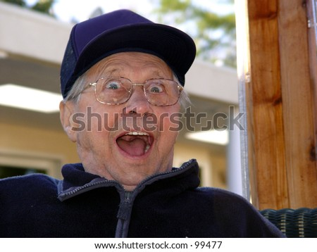An old man surprised