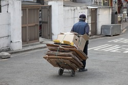 An old man who collects recycling wastepaper - A poor Korean elderly who collects and sells recycling wastepaper
