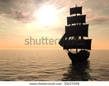 An old merchant ship out at sea an early morning.