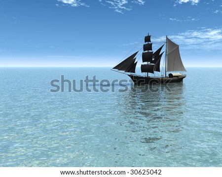 An old merchant ship out at sea on a sunny day.