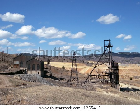 An old mine headframe in Butte, Montana.