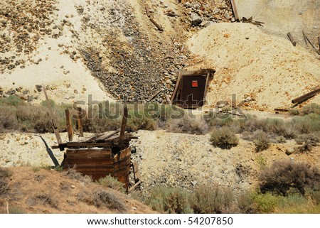 An old mine shaft entrance just south of Virginia City Nevada.